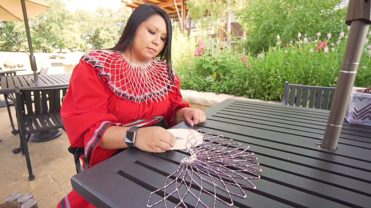 Beading demonstration at the Chickasaw Cultural Center in Oklahoma