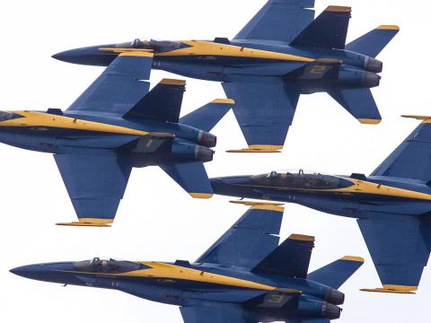 The Blue Angels soar through the sky at the Duluth Air Show
