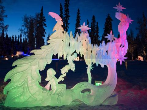 Grand sculpture at Christmas in Ice
