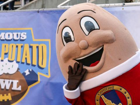 Mascot for the Famous Idaho Potato Bowl college football game in Boise