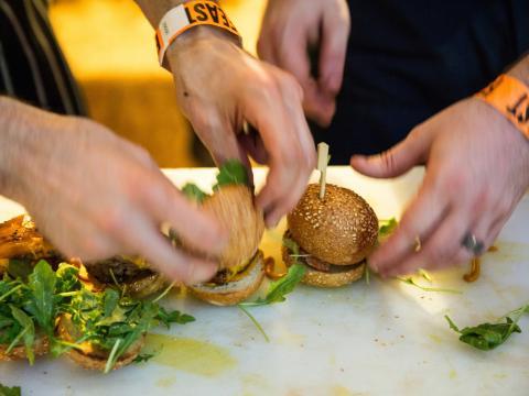 Sampling sliders (mini hamburgers) at Feast Portland