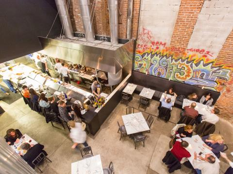 Aerial view of diners at Acorn