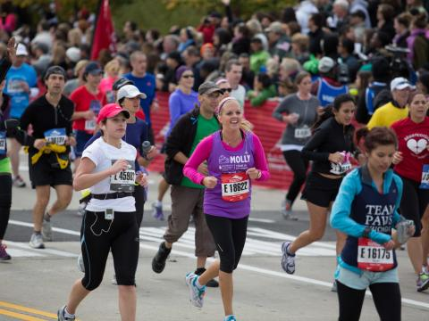 Runners competing in the annual Chicago Marathon