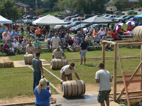 A bourbon barrel relay race during the Kentucky Bourbon Festival