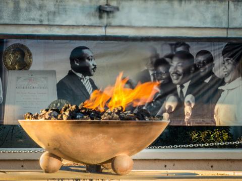The Eternal Flame burning at The King Center in Atlanta, Georgia
