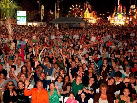 Attendees celebrating at the Jensen Beach Pineapple Festival in Florida