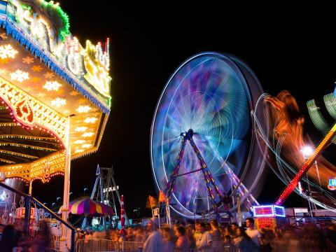 Rides at the California Mid-State Fair in Paso Robles, California