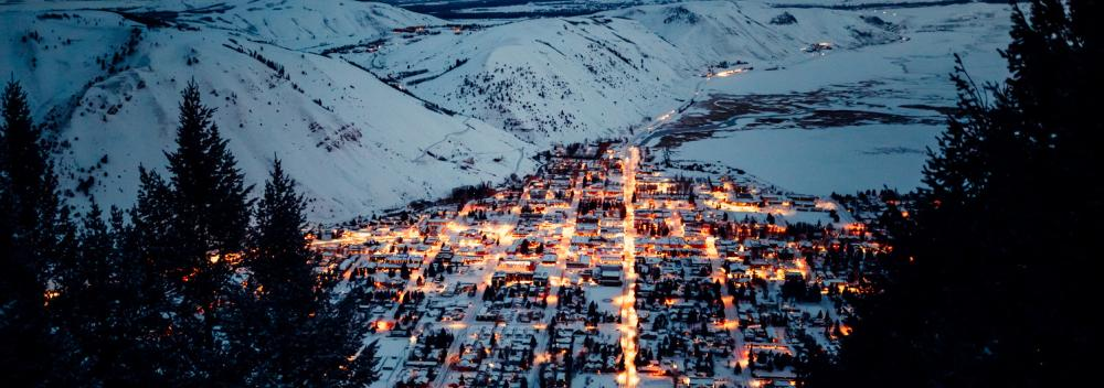 A snowy valley of lights in Jackson, Wyoming