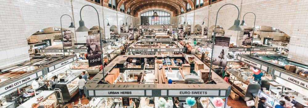 The West Side Market, the oldest indoor/outdoor market space in Cleveland, Ohio
