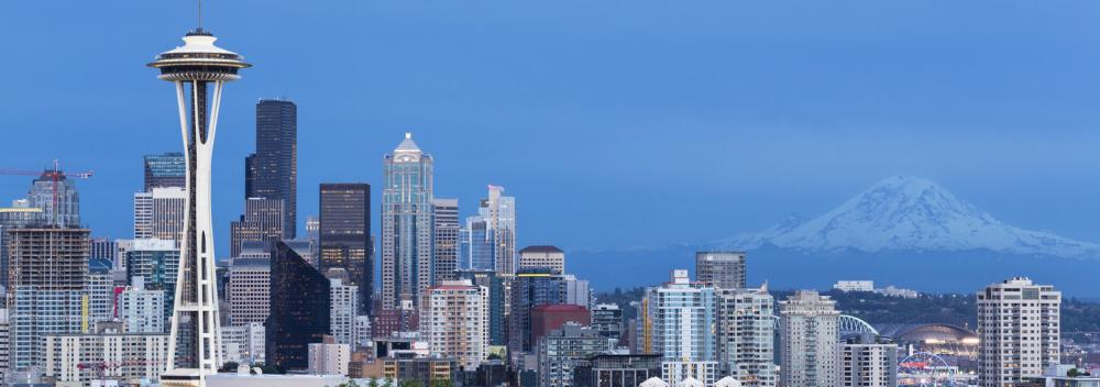 The Space Needle and the Seattle, Washington, skyline