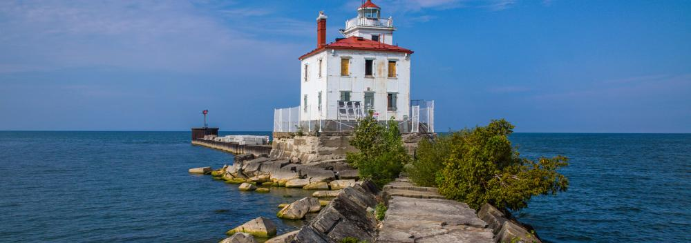 Fairpoint Harbor West Breakwater Lighthouse on Lake Erie